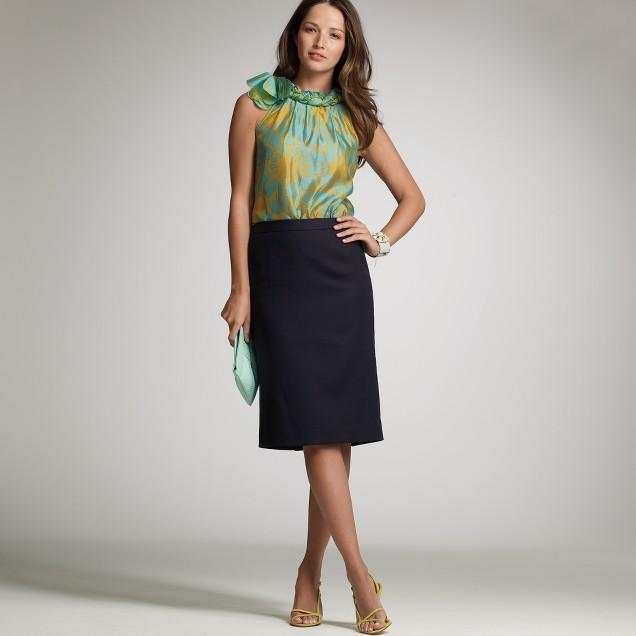 Superfine cotton pencil skirt