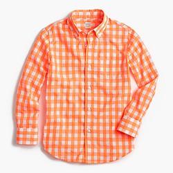 Kids' Secret Wash shirt in neon gingham