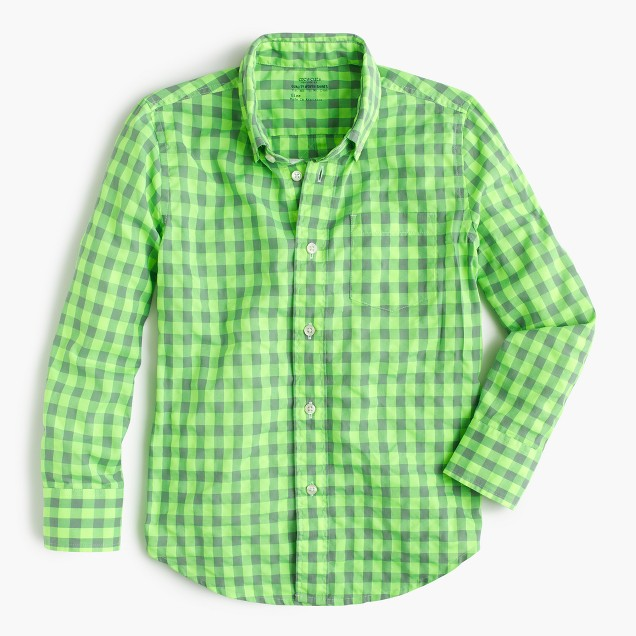 Kids' Secret Wash shirt in neon gingham