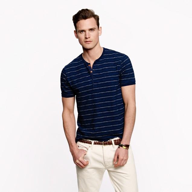 Short-sleeve henley in indigo stripe