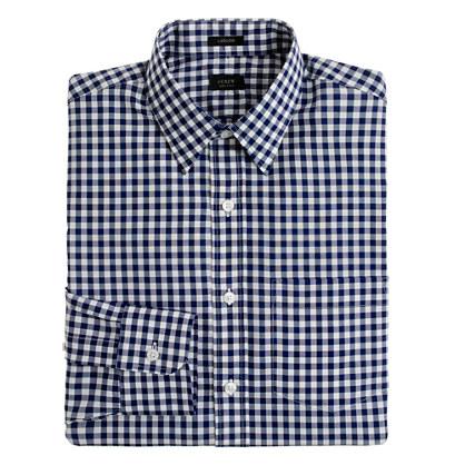 Ludlow point-collar shirt in medium gingham