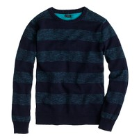 Textured slub cotton sweater in heather aqua stripe
