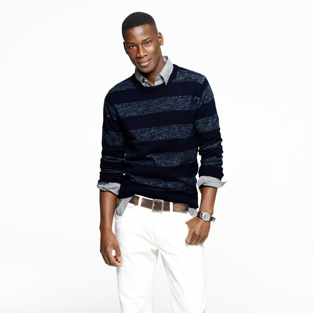 Textured slub cotton sweater in heather aqua stripe
