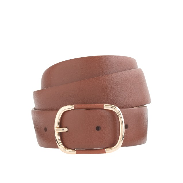 Wide leather-and-gold-buckle belt