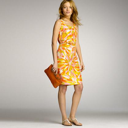 Slub-silk mod floral dress