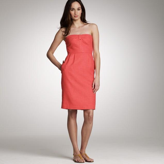 Metallic-linen strapless dress