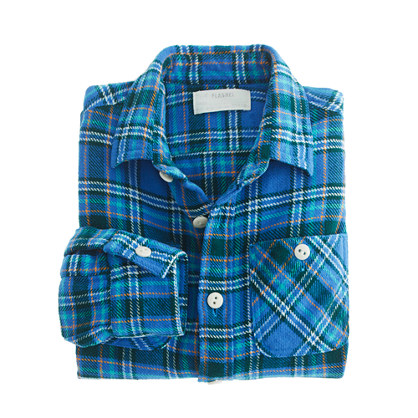 Boys' vintage camp flannel shirt in cobalt plaid