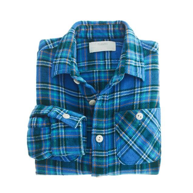 Boys' vintage camp flannel shirt in cobalt plaid