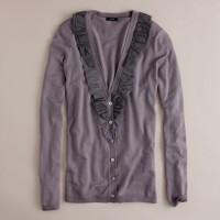 Merino whisper ruffle cardigan