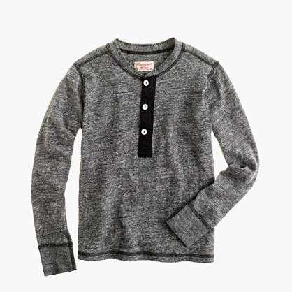 Boys' Homespun Knitwear henley in charcoal