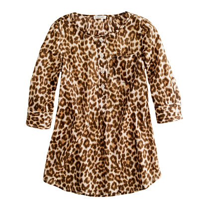 Girls' pocket tunic in leopard print