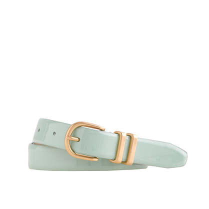 Painted-enamel patent leather belt