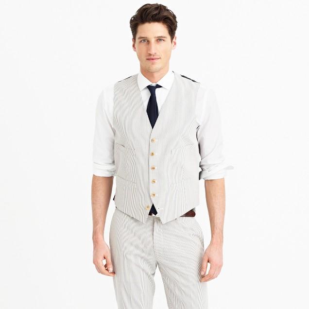 Ludlow suit vest in Japanese seersucker