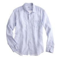 Tall Irish linen shirt in thin stripe
