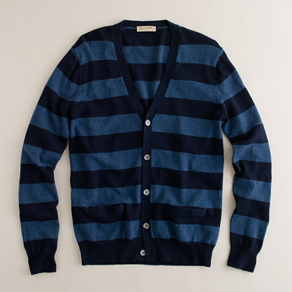 Cotton-cashmere campus-stripe cardigan