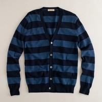 Cotton-cashmere campus-stripe cardigan