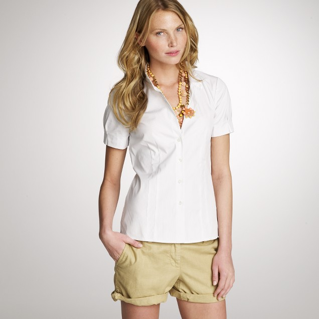 Short-sleeve stretch broadcloth shirt