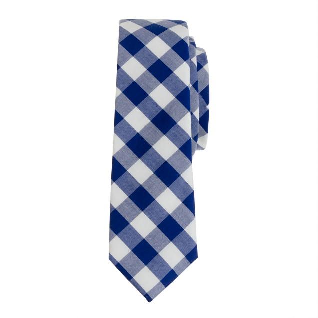 Boys' tie in navy gingham