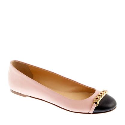 Nora cap toe chain ballet flats