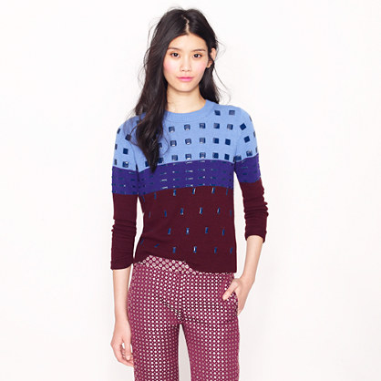 Collection beaded colorblock sweater