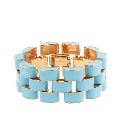 Enameled flat-link bracelet