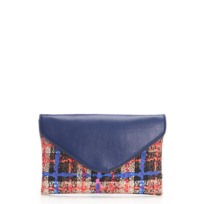 Invitation clutch in electric plaid