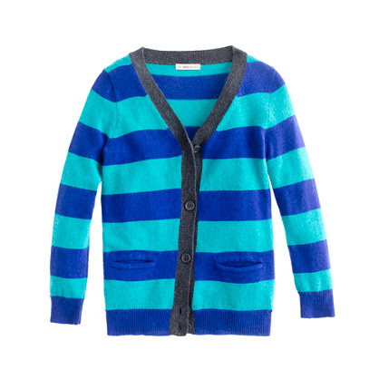 Girls' V-neck cardigan in stripe