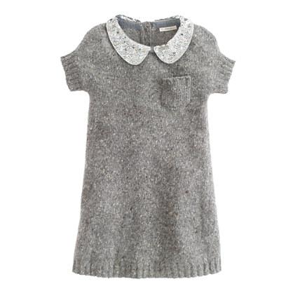 Girls' sequin-collar Donegal dress