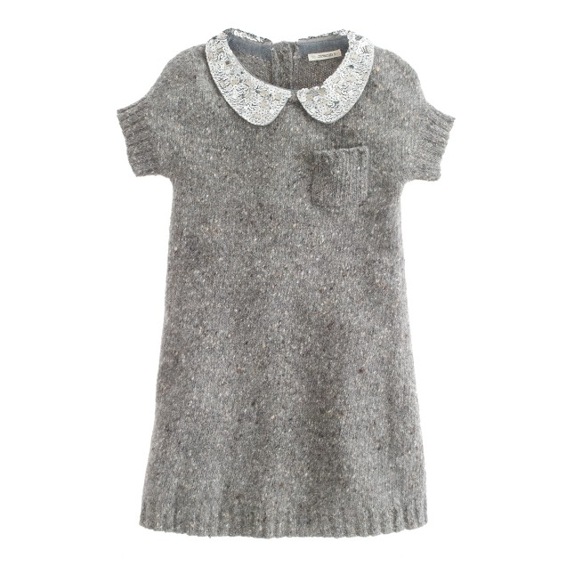Girls' sequin-collar Donegal dress