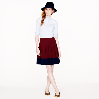 Pleated skirt in colorblock crepe