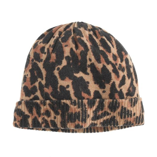 Girls' leopard hat
