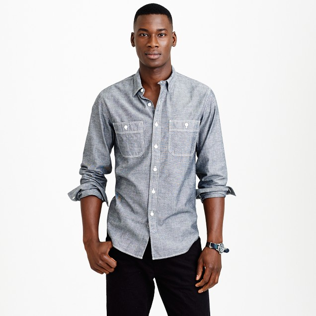 Grey chambray utility shirt