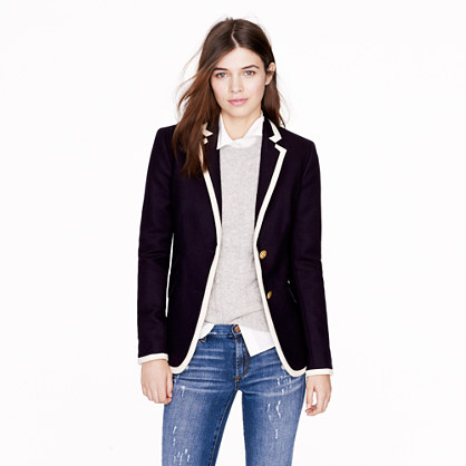 Petite tipped hacking jacket in double-serge wool