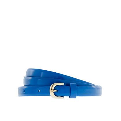Patent leather skinny belt