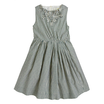 Girls' stripe cotton sparkle dress