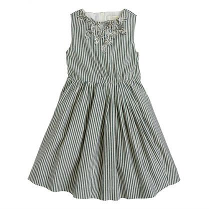 Girls' stripe cotton sparkle dress