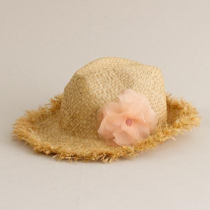 Straw fedora hat with flower