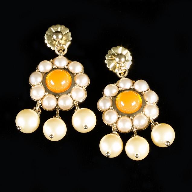 Pearl-cluster drop earrings