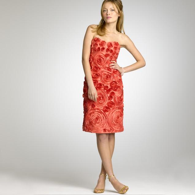 Silk dupioni rosette dress