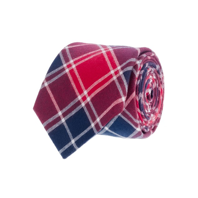 Lattice-plaid oxford cloth tie