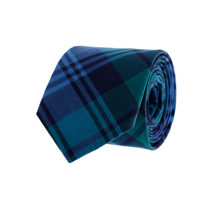 Tartan oxford cloth tie in green