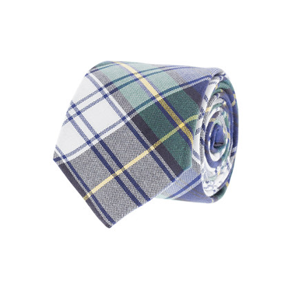 Tartan oxford cloth tie in spruce