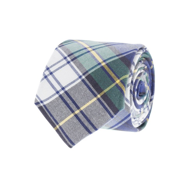 Tartan oxford cloth tie in spruce