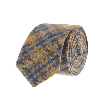 Tricolor tattersall wool tie