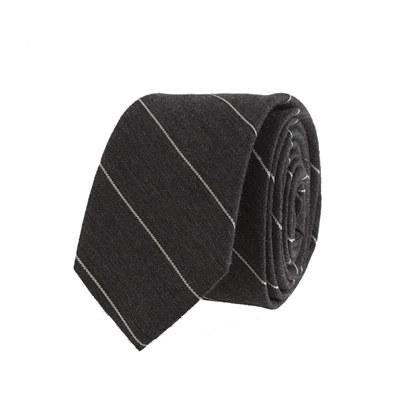 Thin-stripe wool tie in dark steel