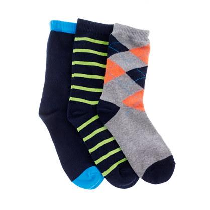 Boys' multicolor socks three-pack