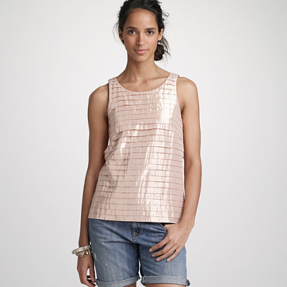 Metallic pleated cotton strati tank