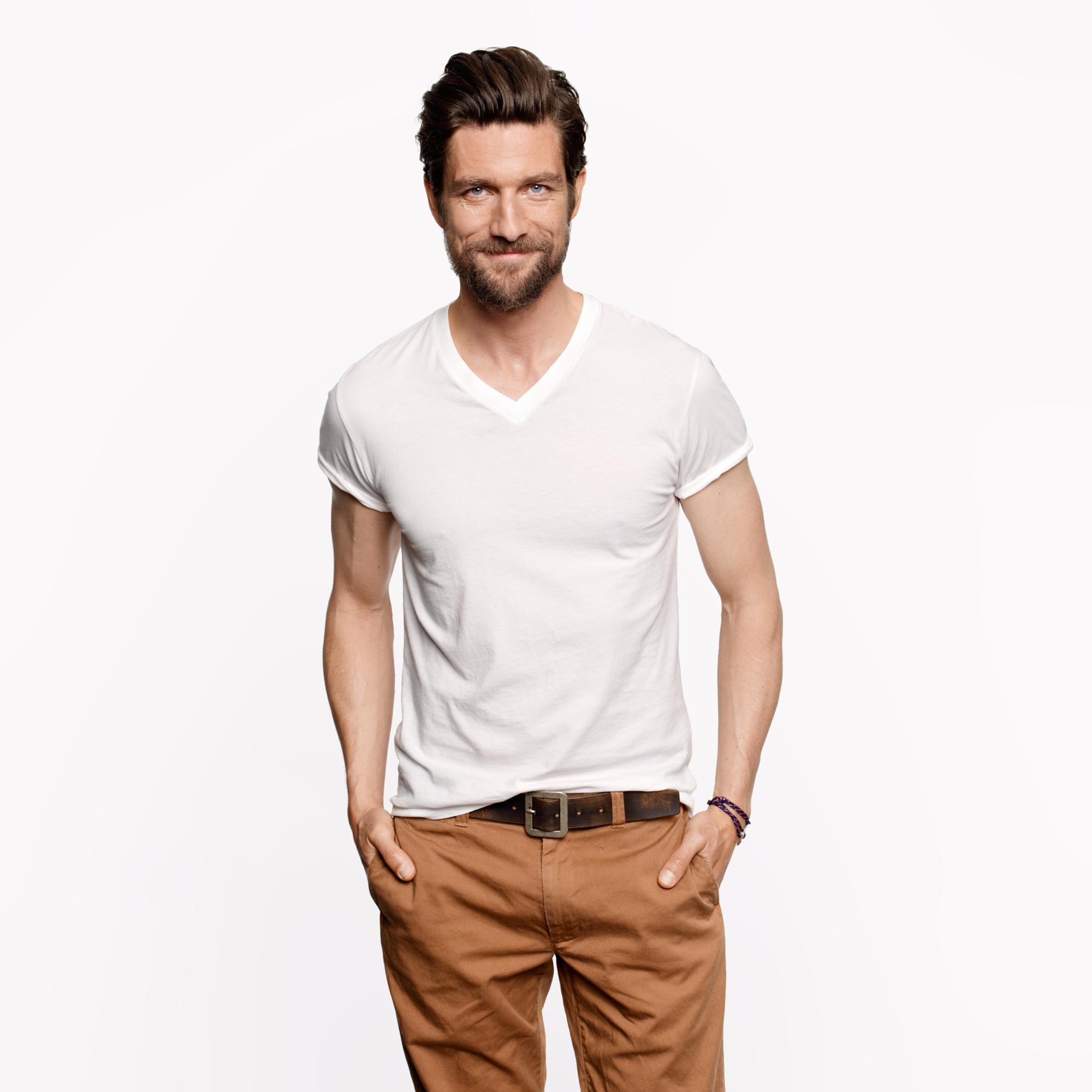 Design your own t shirt india cash on delivery -  Slim Broken In V Neck T Shirt