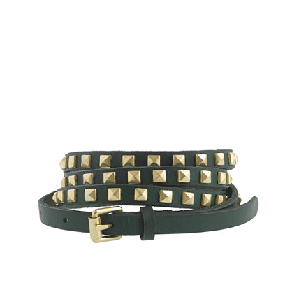 Studded leather skinny belt