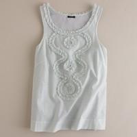 Cotton-silk ruffle swirl tank